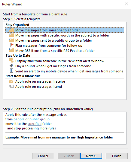 Set Up Rules to Declutter Your Inbox